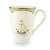 Lenox Colonial Tradewind Gold Banded Bone China Mug by Lenox