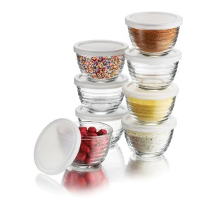 Libbey 6.25-Ounce Small Bowls with Plastic Lids, 16-Piece Set by Libbey