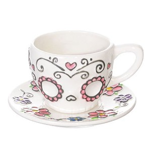 Ceramic Sugar Skull Teacup and Saucer Set in Gift Box by Sugar Skulls