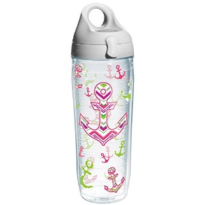 Tervis Nautical Anchor Away Wrap Water Bottle with Grey Lid, 24-Ounce, On The Water by Tervis