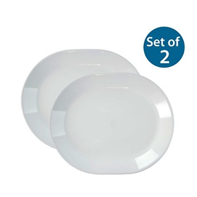Corelle Livingware 12-1/4-Inch Serving Platter, Winter Frost White (Winter Frost White x2) by...
