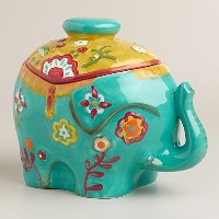 Colorful Ceramic Elephant Cookie Jar/Storage Container/Decor by Happy Homewares