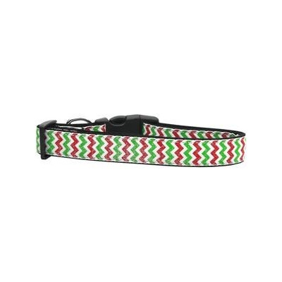 Christmas Sparkle Chevron Nylon Dog Collars Medium