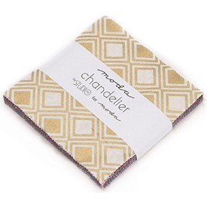 Chandelier Metallic Moda Charm Pack By Studio M; 42 - 5 Precut Fabric Quilt Squares by moda