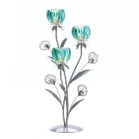Triple Peacock Bloom Candleholder ( Pack of 1 Ea )