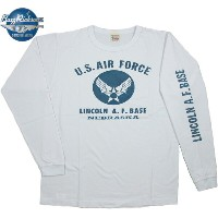 "BUZZ RICKSON'S (バズリクソンズ) L/S T-SHIRT ""U.S. AIR FORCE"" LINCOLN A.F.BASE (エアフォースマーク入り、長袖ミリタリープリント..."