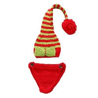 Zhhlaixing ベビー服 Baby Photography Prop Crochet Beanies Hats Shorts Set Christmas Clothes XDT-367#
