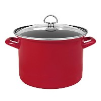 Chantal enamel-on-steel Stockpot with強化ガラス蓋 9クォート レッド 523268-33-240S-RE