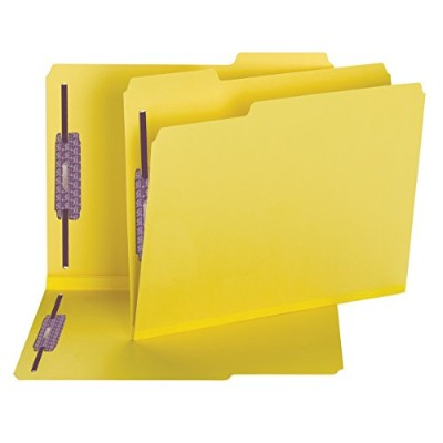 Colored Pressboard Fastener Folders, Letter, 1/3 Cut, Yellow, 25/Box (並行輸入品)