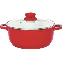 Vinaroz Die Cast Aluminum with Ceramic Coating 28-Cm, 6.8-Quart Casserole with Lid and Vent, Red by...