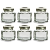 NakpunarガラスJars 3.75 oz Oval Hexagon - Set of 6