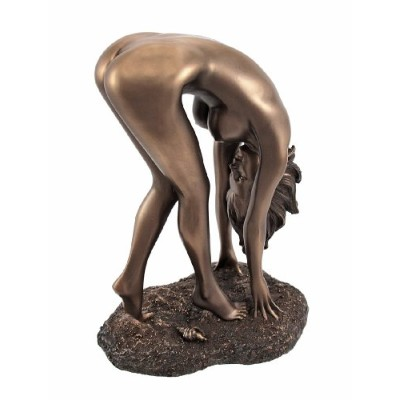 Bronzed Finish Nude Woman Bent OverポーズStatue Erotic Art by things2die4