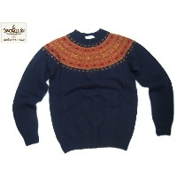 【期間限定30%OFF!】INVERALLAN(インバーアラン)/#115065 NORDICK FAIRISLE YOKE SHETLAND SWEATER/navy
