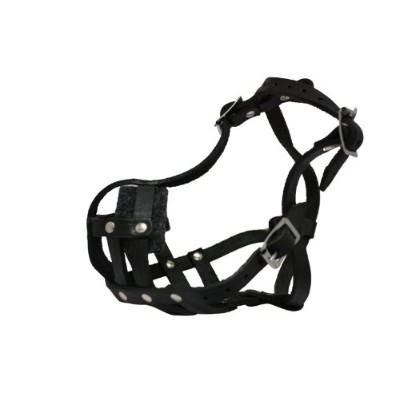 Leather Basket Muzzle (Boston). BM1, Black. 9 circumference, 2 length. Best fits breeds like French...
