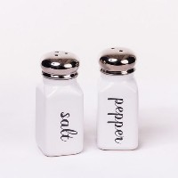 Classic Vintage Style Black and White Ceramic Salt & Pepper Shaker Set by 180D