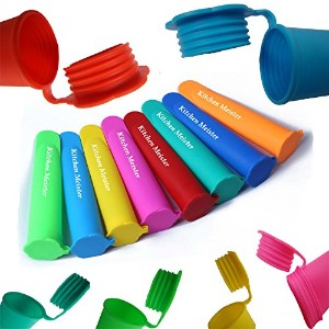 Silicone Ice Pop Maker Tube Molds, Set of 10, Assorted Colors by Kitchen Meister