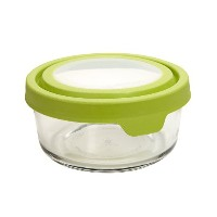 Anchor Hocking 4-Cup Round Food Storage Containers with Green TrueSeal Airtight Lids, Set of 4 by...