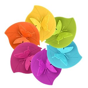4.13*4.92'' Food Grade Silicone Cup Lids, IPHOX Creative Butterfly Mug Cover [Set of 6] Anti-dust,...