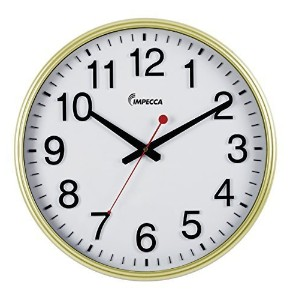 Impecca Non Ticking 18-Inch Extra Large Railway Wall Clock, Gold by Impecca [並行輸入品]