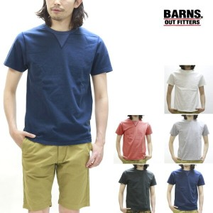 BARNS outfitters バーンズ 半袖Tシャツ 両Vガゼット クルーネック BR-8145
