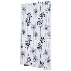 Carnation Home Fashions Cologne 70-Inch by 72-Inch Shower Curtain with Flocking, White and Black ...