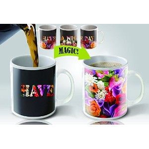 Cortunex Heat Sensitive Color Changing Coffee Mug, Have a nice day Flowers Design by Cortunex