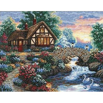 """Gold Collection Twilight Bridge Counted Cross Stitch Kit-14""""X11"""" 18 Count (並行輸入品)"""