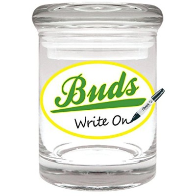 Buds Glass Stash Jar (Re-Writable) -30ml by Cannaline