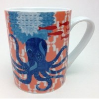 Marine Patterned OctopusセラミックLargeコーヒーマグ
