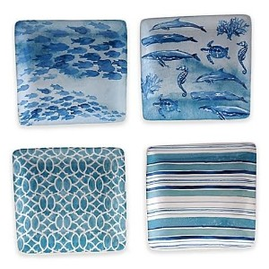 """ Set of 4 "" Certified International Sea Lifeカナッペプレート6 "" Assorted"