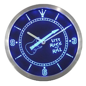 LEDネオンクロック 壁掛け時計 nc0368-b Guitar Let Rock n Roll Bar Beer Neon Sign LED Wall Clock