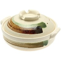 Kotobuki 190-973D Brushstroke Japanese Donabe Hot Pot, 11-1/2-Inch, White with Brown and Green by...