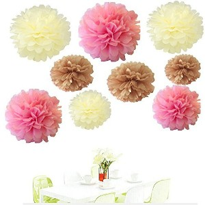 Sinceテつョ18Pcs of 8 10 14 3 Colors Mixed Ivory Tan pink Tissue Paper Flowers,Tissue Paper Pom Poms...