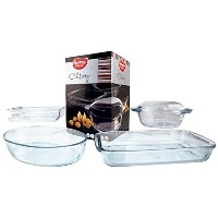 Euro-Ware Marinex 'Celebrity Collection' 5 Piece Glass Oval Baking/Serving Dish Set, Clear [並行輸入品]