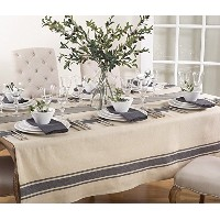 """FenncoスタイルAulaire Bandedデザインテーブルクロス 72"""" Square Tablecloth"""