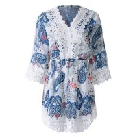 Sexy V-Neck Lace Embellished Paisley Dress For Women