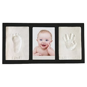 Clay Handprint & Footprint Keepsake Photo Wall Frame - Black by Casting Keepsakes