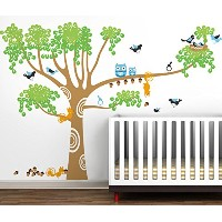 Pop Decors Vinyl Art Wall Decals Mural for Nursery Room, Big Nursery Tree Removable Light Brown by...