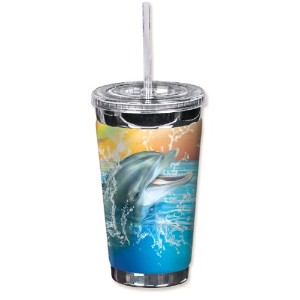 Mugzie 720-TGC Dolphin To Go Tumbler with Insulated Wetsuit Cover, 16 oz, Black by Mugzie