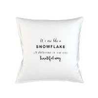 We Are Like A Snowflake All Different In Our Own Beautiful Way Sofa ベッドホームデコールクッション 枕カバー・ピローケース 白