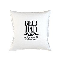Biker Dad Just Like A Normal Dad Except Much 素敵er Father Gift Sofa ベッドホームデコールクッション 枕カバー・ピローケース 白