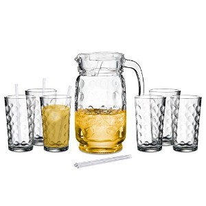 60 Oz Glass Pitcher with Lid and Drinking Glasses Set - Decorative Jug and Six 12 Oz. Tall Cups ...