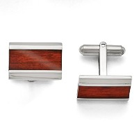 ChiselステンレススチールPolished Red Wood Inlay Cuff Links