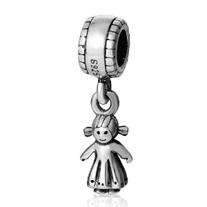 SoulBead Little Boy&girl Authentic 925 Sterling Silver Charm Beads (Girl) by Fits Pandora charms...