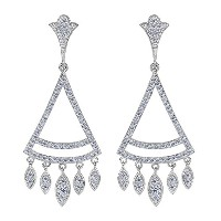 Sterling Silver And Cubic Zirconia Triangle Shaped Chandelier Earrings