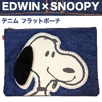 EDWIN×SNOOPY デニム フラットポーチ スヌーピー グッズ 新生活 プレゼント