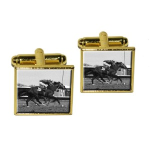 At the Track–Horse RacingヴィンテージSquare Cufflink設定–ゴールド