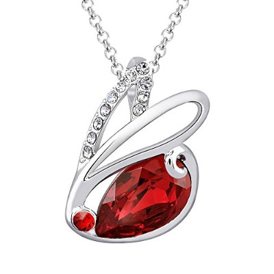 Fappac RabbitペンダントネックレスEnriched with Swarovski Crystals–レッド