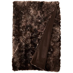Brielle Faux Fur Decorative Pillow with Down Alternative Filling, 18 by 18, Tundra Swan Dark Brown...