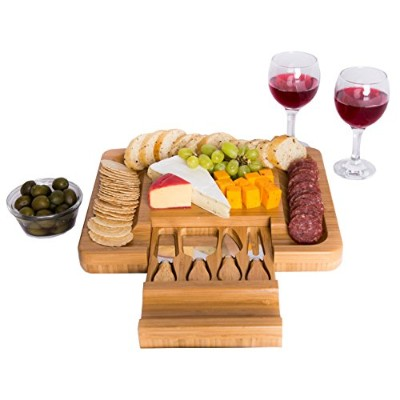 Bamboo Cheese Board with Cutlery Knife Set - Rectangle Wooden Server has Extra Serving Space on...